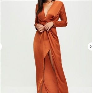 Missguided rust color wrap dress size 4
